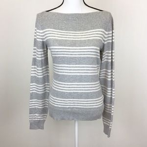 C Wonder Gray White Striped Sweater Boat Neck